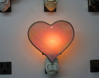Heart Night Lights -  Stained Glass Heart Night Light - Pink Iridized Heart Night Light