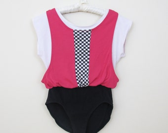 80s Jacques Moret Pink Checkerboard Leotard, Size Small