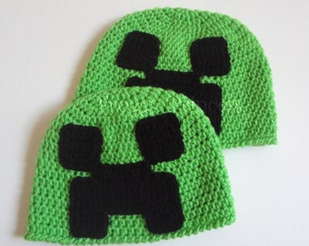 Creeper Hat Minecraft READY to SHIP Green Child/Teen/Adult Hand Crocheted Beanie
