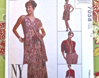 Vintage Womens Dress Pattern with Jacket, Skirt, Pants, Vest, and Belt - McCalls 7058