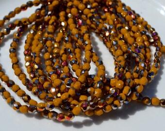 Goldenrod Marea 4mm Faceted FIrePolish Round Czech GLass Beads  50