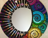 NEW Stained Glass Mosaic Mirror -Rainbow Celestial 24""