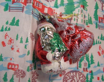 two glass blown ornaments