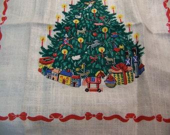 christmas tree linen towel