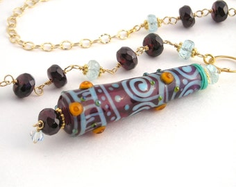 Gold Chain Necklace With Lampwork Pendant, 24 Inch, Garnet, Aquamarine, Long Necklace, January Birthstone