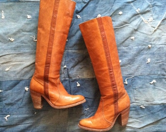 Vintage Frye Knee High Leather Boots • sz 6