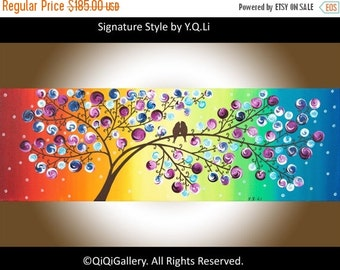 "Rainbow color art color modern original Romantic love birds acrylic painting wall art wall decor canvas art ""A Brand New Day"" by qiqigallery"