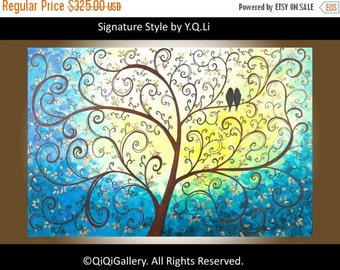 "Painting acrylic painting Abstract Landscape Painting Impasto Palette Knife Tree Love Birds ""A New Life"" by QIQIGALLERY"