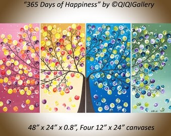 large abstract landscape painting four seasons tree canvas art wall art wall hanging home decor red yellow orange green blue purple