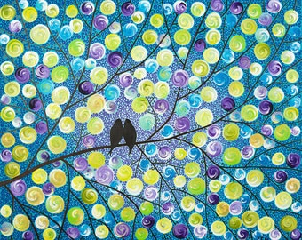 """Colorful modern purple yellow green blue turquoise wall art Acrylic Impasto Painting original love birds Canvas art """"Lavender Dream"""" by qiqi"""