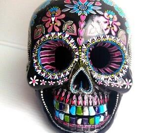 Painted Skull Hand painted plaster skull Sugar skull skull art