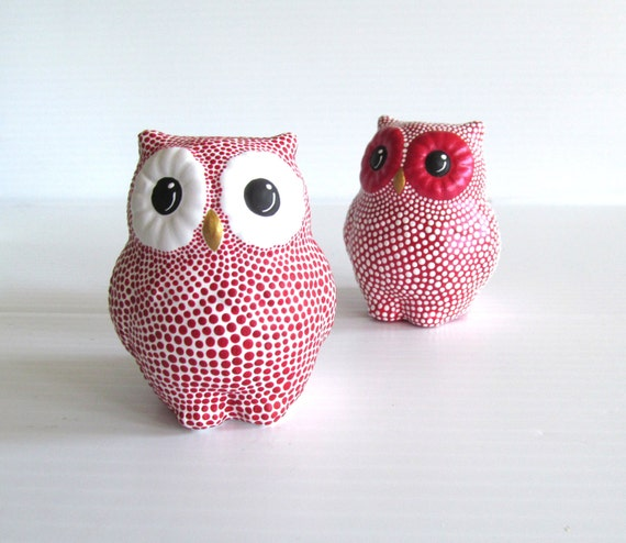 Owls salt and pepper shakers red and white owls - Owl salt and pepper grinders ...