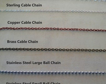 Add a Chain - Chain Upgrade- Brass Copper Sterling Stainless Steel Chain - S228