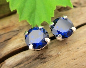 Blue Sapphire Lab Grown Earrings in Gold, Silver, or Platinum with Genuine Gems, 6mm - Free Gift Wrapping