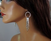 Sterling silver textured fringe earrings with brass, sparkling
