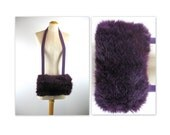 Vintage 80s Purple Muff Bag in Faux Fur and Wool by Lundstrom