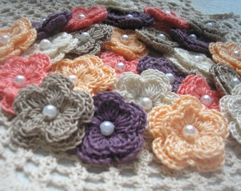 Crochet Double Layered Flowers Set of 25 in Earthy Tones