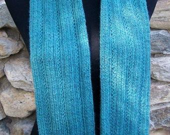 Handknit Ultra Alpaca Soft Teal Blue Ribbed Scarf