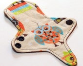 ULTRATHIN Reusable Thongliner Cotton Flannel Mini Pad with wings for Every Day - Washable Cotton Flannel - Nerdy Owls