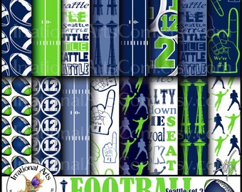 Seattle Football set 2 Digital Scrapbooking Papers - 16 jpg files 300dpi Navy and Lime Green {Instant Download}