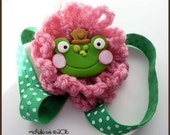 Frog Adjustable Planner Journal Band Green and Pink