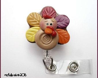 Retractable Badge Reel ID Holder Polymer Clay Turkey