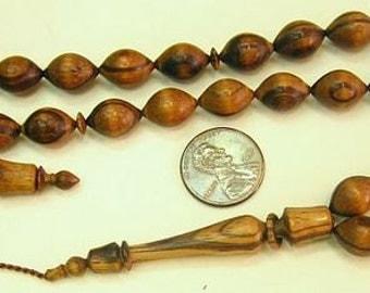 Prayer Beads Tesbih Light Zebrano Wood  - SUFI CARVING - COLLECTOR'S