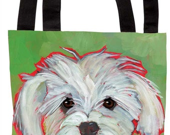Cute white fluffy dog canvas tote, maltese tote bag, maltipoo custom tote bag, i'm so glad you're home somebody pooped in the hall schnoodle