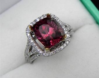 AAAA Red Rubellite Tourmaline Cushion Cut   9x7mm  2.47 Carats   14K White gold Diamond halo Engagement ring 1364