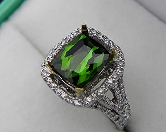 AAAA Green Tourmaline Cushion Cut   9x7mm  2.05 Carats   14K White gold Diamond halo Engagement ring 1367
