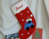 Train Christmas Stocking|Personalized Christmas Stocking|Kids Personalized Christmas Stocking|Christmas Decor|Traditional Red Felt Stocking