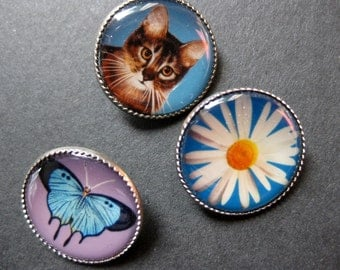 Three small Picture Buttons, Butterfly, Cat and Daisy, Self Shank