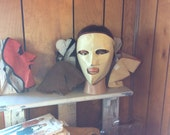 VIntage LEATHER SKI MASK, face warmer, 4 available, German made, suede, Sun Valley, costume, face cover