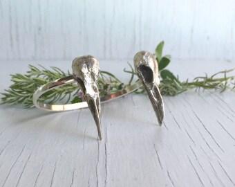 Double Raven Skull Cuff Bracelet, Sterling Silver, Corvid jewelry
