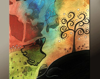 Abstract Landscape Art Print  11x14 Contemporary Fine Art Print by Destiny Womack  -  dWo - The Tree
