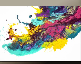 Abstract Canvas Art Painting 36x24 Original Contemporary Paintings by Destiny Womack - dWo -  Riding the Wave