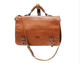 Italian Nutmeg Brown Leather Briefcase Bag