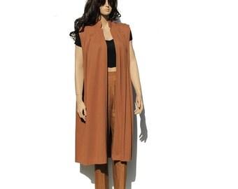 Camel Brown Cotton Vest / Oversized Vest / Long Vest