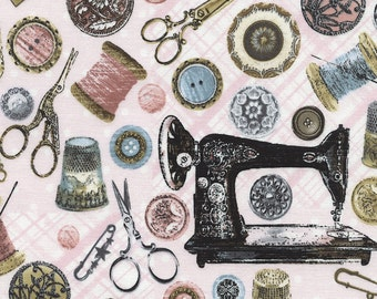 ANTIQUE SEWING TOOLS Pink Printed Cotton Quilt Fabric by the Yard, Half Yard, or Fat Quarter Fq Vintage Buttons Sewing Machines Notions Pins