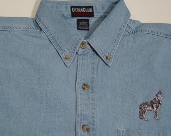 GRAY WOLF Wildlife Embroidered Small to 4XL Long Sleeve Light Blue Denim Shirt - Price Embroidery Apparel