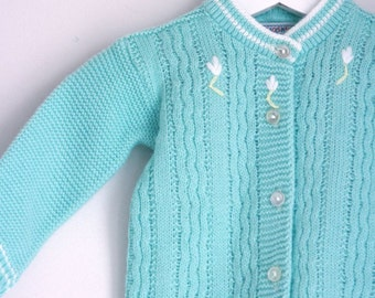Vintage infant girl cardigan sweater mint green with appliqué flowers 0 to 3 months