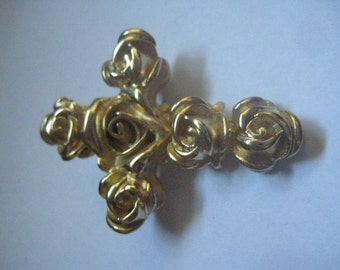 Gold Plated Roses Cross Brooch Very Lovely