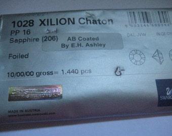 Lot of 144 PP16 Sapphire AB Article 1028 Swarovski Rhinestones Coated by EHAshley