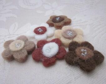 6 Brown Beaded Felt Flower Embellishments