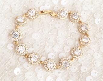 Gold Wedding Bracelet- Rhinestone CZ Cushion Cut Circle links, Bridal Jewelry, yellow Gold Jewelry round