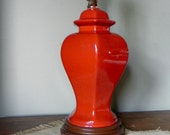 Vintage orange ginger jar table lamp - mid century style - faux wood base