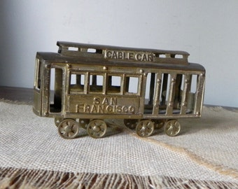 Vintage Brass San Francisco Cable car model large 5 inches long souvenir library