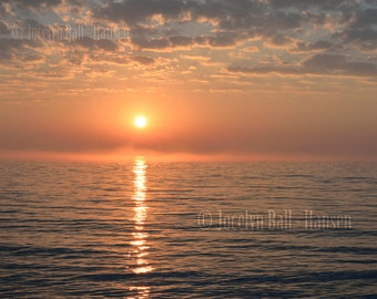 Photo of Misty Morning Sunrise, Fine Art Landscape Print, Sun Reflected in Rippled Water, Tranquil Zen Seascape Wall Art