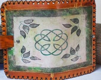 Celtic Vines Leather Journal, Moleskine Cover, Diary, Writing, 7X4.5 Handmade