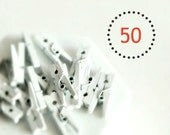 SALE {50} Mini {25mm or 1.0in} White Wood Clothes Peg Gift Scrapbooking Bulk Supply Party Photo Prop Weddings DIY Supplies Festive Gift Wrap
